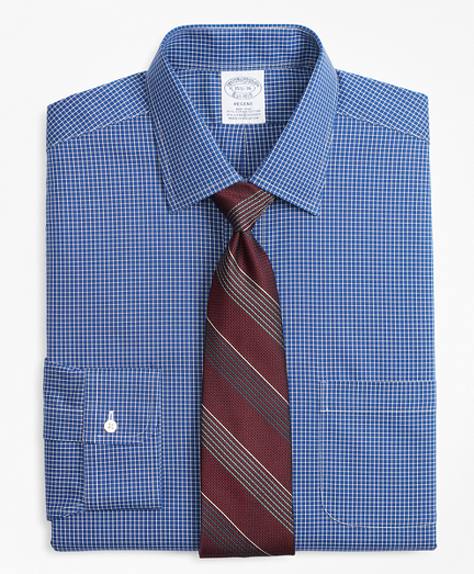 Stretch Regent Fitted Dress Shirt, Non-Iron Ground Check