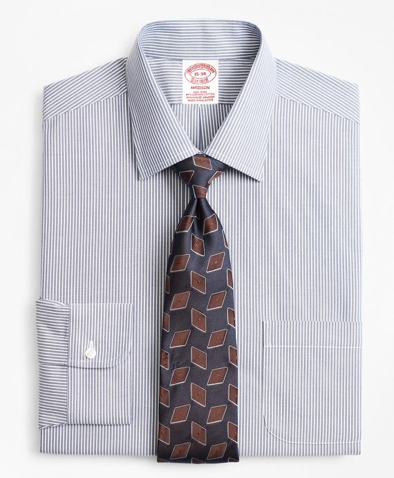 Stretch Madison Classic-Fit Dress Shirt, Non-Iron Narrow Ground Stripe Blue