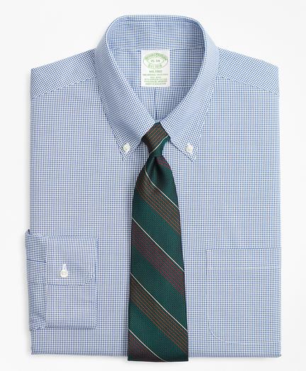 Stretch Milano Slim-Fit Dress Shirt, Non-Iron Mini-Windowpane