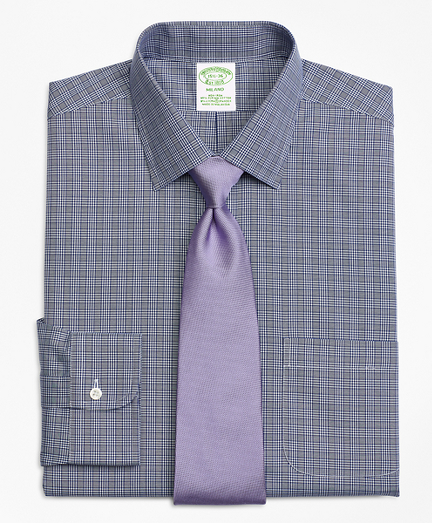 Stretch Milano Slim-Fit Dress Shirt, Non-Iron Glen Plaid
