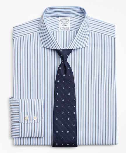 Stretch Regent Fitted Dress Shirt, Non-Iron Royal Oxford Stripe