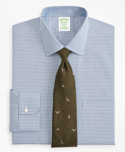 Stretch Milano Slim-Fit Dress Shirt, Non-Iron Check