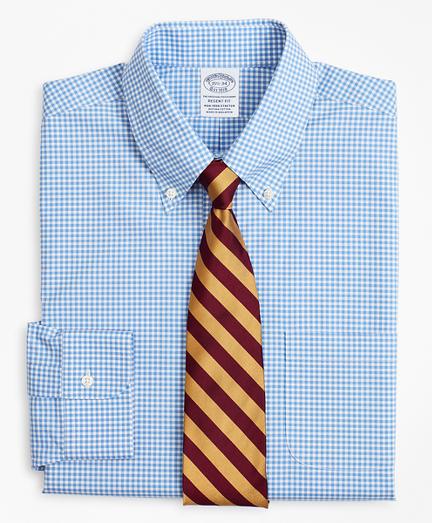 Stretch Regent Fitted Dress Shirt, Non-Iron Poplin Button-Down Collar Gingham