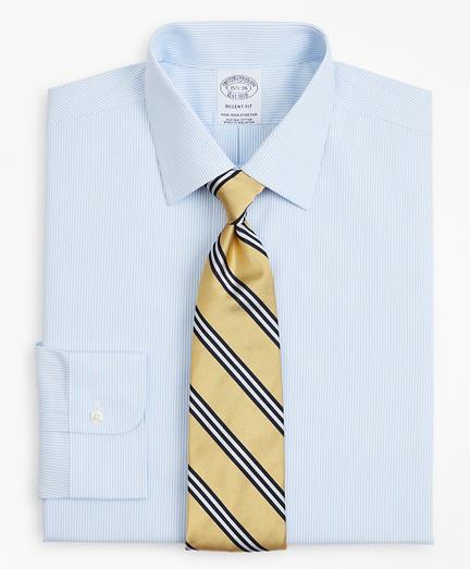 Stretch Regent Fitted Dress Shirt, Non-Iron Poplin Ainsley Collar Fine Stripe