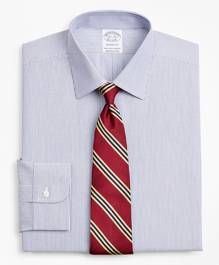 Stretch Regent Fitted Dress Shirt, Non-Iron Poplin Ainsley Collar Fine Stripe