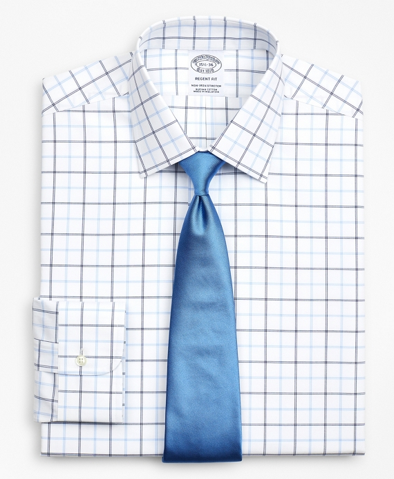 Stretch Regent Fitted Dress Shirt, Non-Iron Poplin Ainsley Collar Double-Grid Check Blue