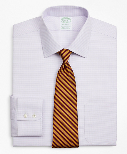 Stretch Milano Slim-Fit Dress Shirt, Non-Iron Twill Ainsley Collar Micro-Check