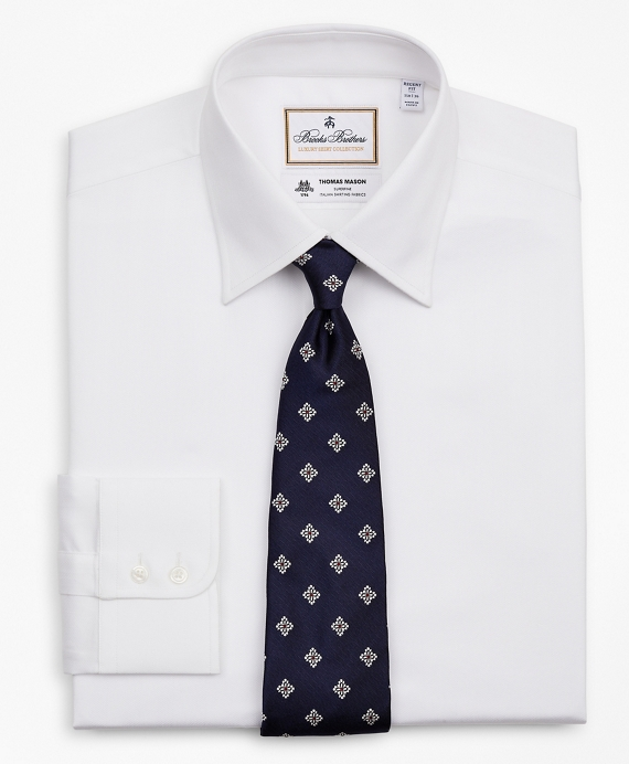 Luxury Collection Regent Fitted Dress Shirt, Franklin Spread Collar Herringbone White
