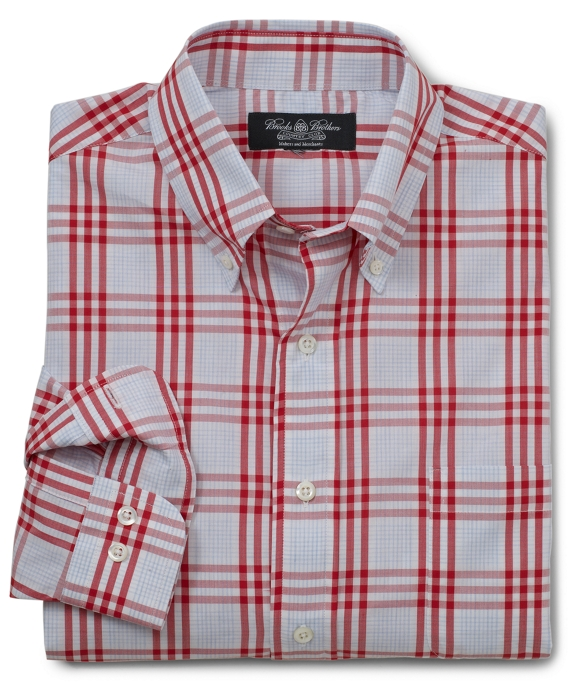 Country Club Heathered Check Sport Shirt Red