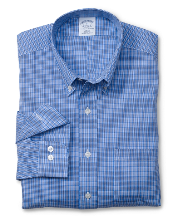 Non-Iron Slim Fit Micro Check Sport Shirt Blue