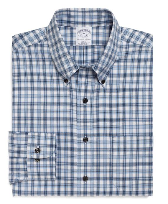 Non-Iron Slim Fit Alternating Split Tattersall Sport Shirt Blue