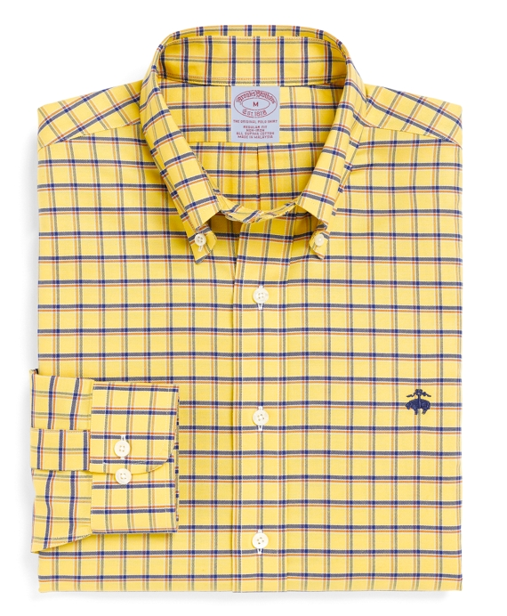 Non-Iron Regular Fit BrooksCool® Double Windowpane Sport Shirt Yellow
