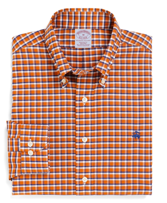 Non-Iron Regular Fit BrooksCool® Sidecheck Sport Shirt Orange