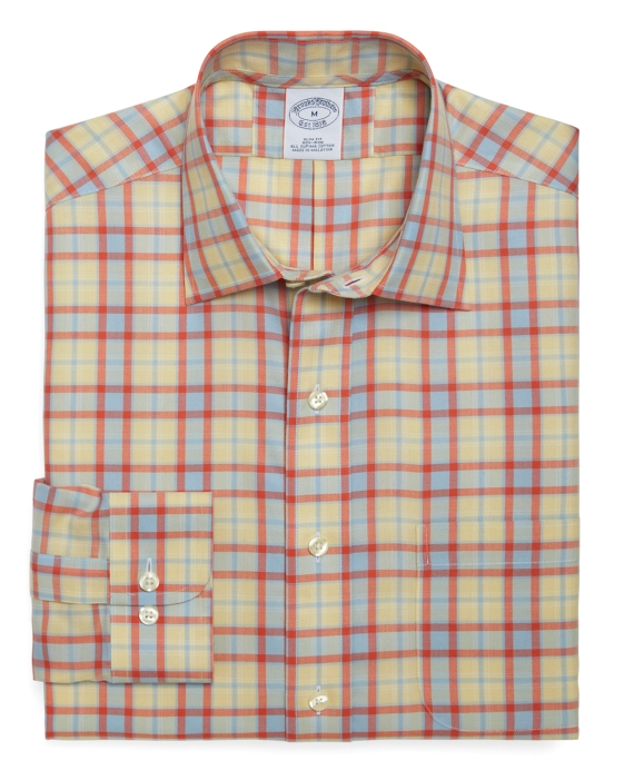 Non-Iron Slim Fit Twill Check Sport Shirt Yellow