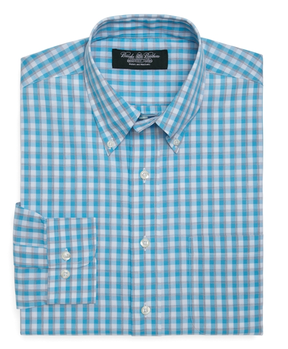 Country Club Regular Fit Sidewheeler Heathered Check Sport Shirt Aqua