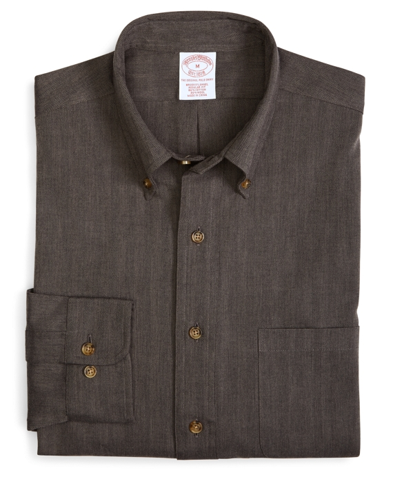 BrooksFlannel® Regular Fit Herringbone Sport Shirt Grey