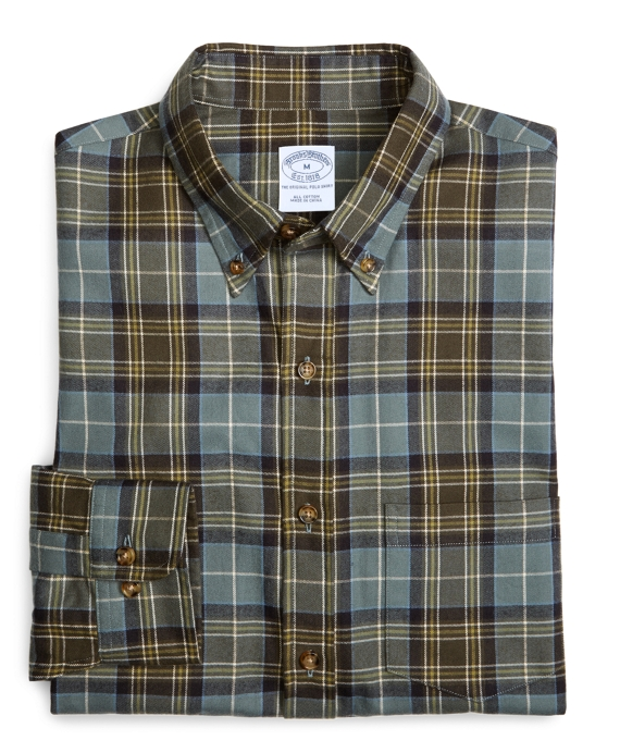 Slim Fit Weathered Flannel MacKellar Sport Shirt Green