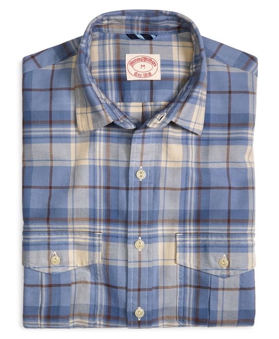 Blue Faded Twill Plaid Sport Shirt Blue