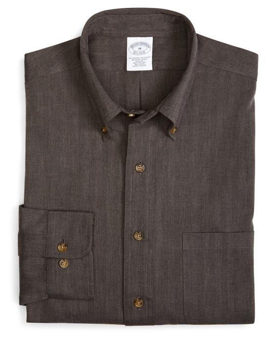 BrooksFlannel® Slim Fit Herringbone Sport Shirt Grey