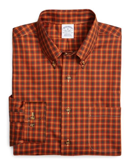 Supima® Cotton Non-Iron Slim Fit Autumn Check Sport Shirt Rust