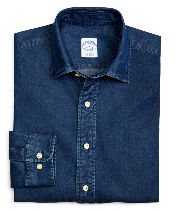Slim Fit Spread Collar Denim Sport Shirt Dark Blue