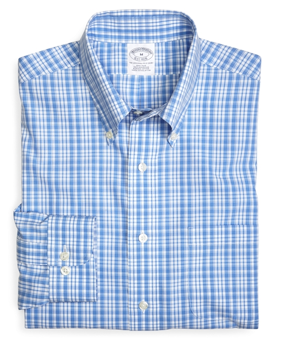 Supima® Cotton Non-Iron Slim Fit Sidewheeler Check Sport Shirt Blue