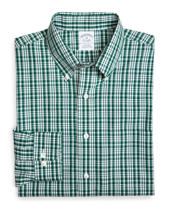 Supima® Cotton Non-Iron Slim Fit Sidewheeler Check Sport Shirt Green