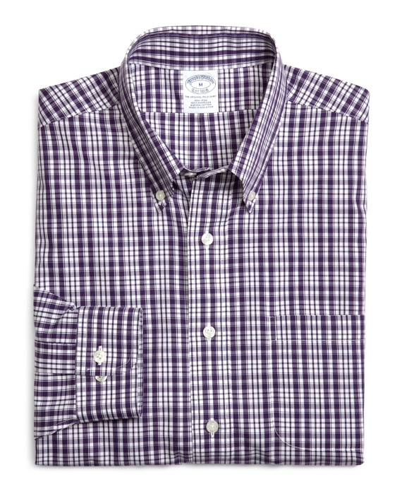 Supima® Cotton Non-Iron Slim Fit Sidewheeler Check Sport Shirt Purple