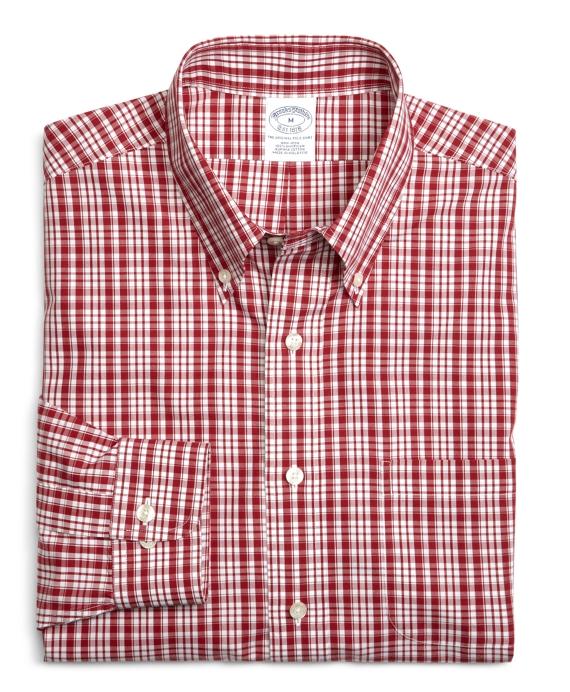 Supima® Cotton Non-Iron Slim Fit Sidewheeler Check Sport Shirt Red