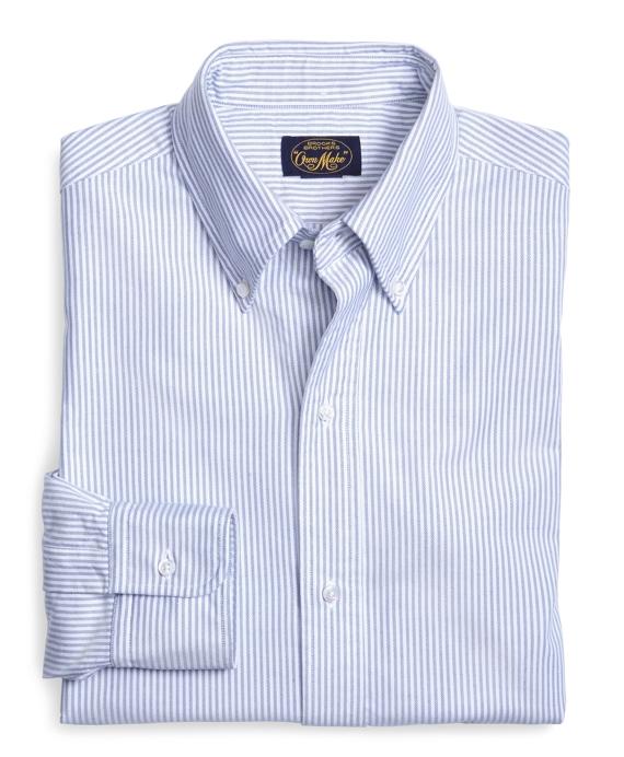 Own Make Blue Stripe Oxford Sport Shirt Blue