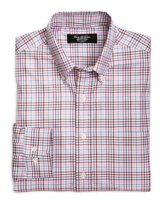 Country Club Slim Fit Multi Herringbone Sport Shirt Pink