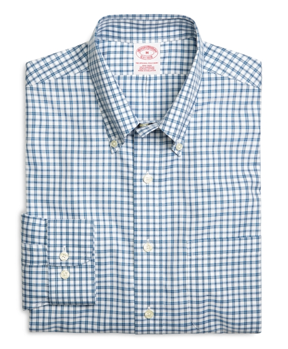Supima® Cotton Non-Iron Regular Fit Blue Check Twill Sport Shirt Blue