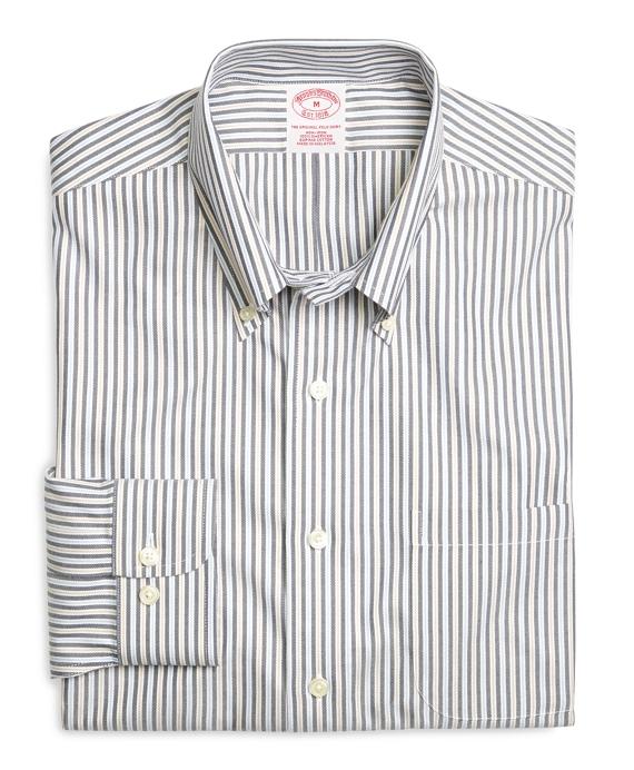 Supima® Cotton Non-Iron Regular Fit Navy Stripe Twill Sport Shirt Navy