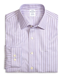Supima® Cotton Non-Iron Slim Fit Lavender Stripe Twill Sport Shirt
