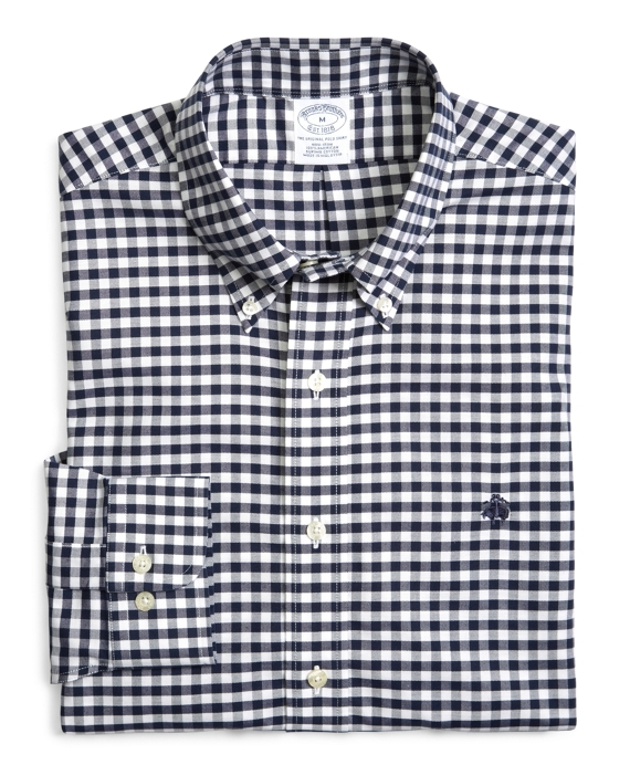 Supima® Cotton Non-Iron Slim Fit BrooksCool® Gingham Oxford Sport Shirt Navy