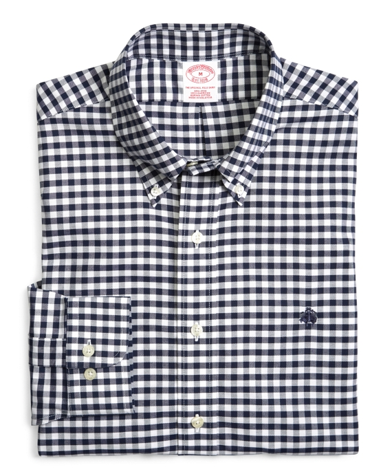 Supima® Cotton Non-Iron Regular Fit BrooksCool® Gingham Oxford Sport Shirt Navy