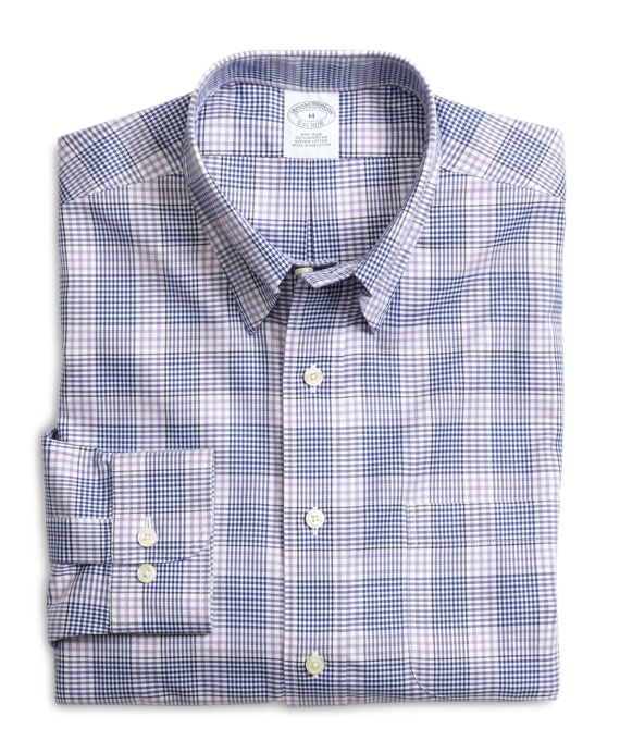 Supima® Cotton Non-Iron Slim Fit Lavender with Blue Twill Sport Shirt Lavender-Blue