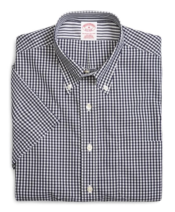 Supima® Cotton Non-Iron Regular Fit Gingham Short-Sleeve Sport Shirt Navy