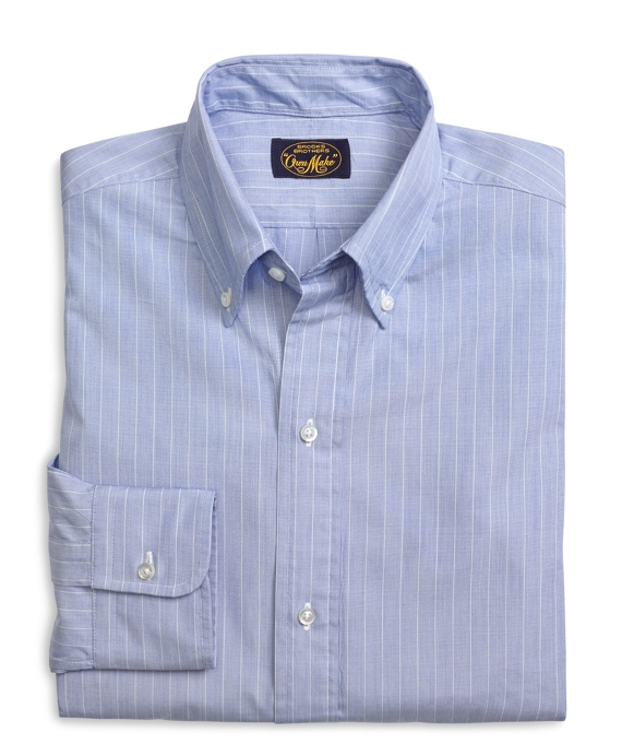Own Make Blue End-on-End with White Stripe Sport Shirt Blue