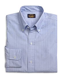 Own Make Blue End-on-End with White Stripe Sport Shirt