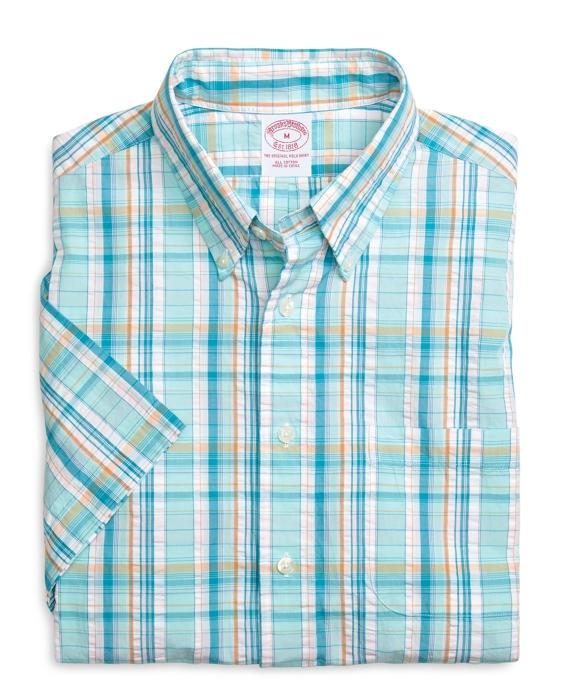 Regular Fit Plaid Short-Sleeve Sport Shirt Aqua
