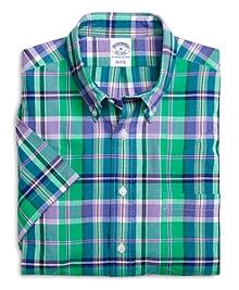 Slim Fit Green with Purple Madras Short-Sleeve Sport Shirt
