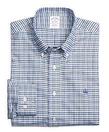 Supima® Cotton Slim Fit Non-Iron Blue Check Oxford Sport Shirt
