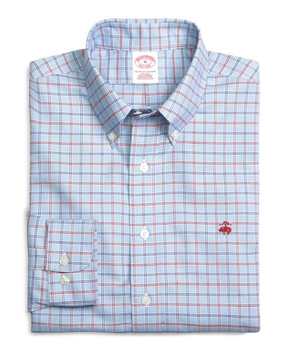 Supima® Cotton Regular Fit Non-Iron Blue Double Tattersall Oxford Sport Shirt Blue