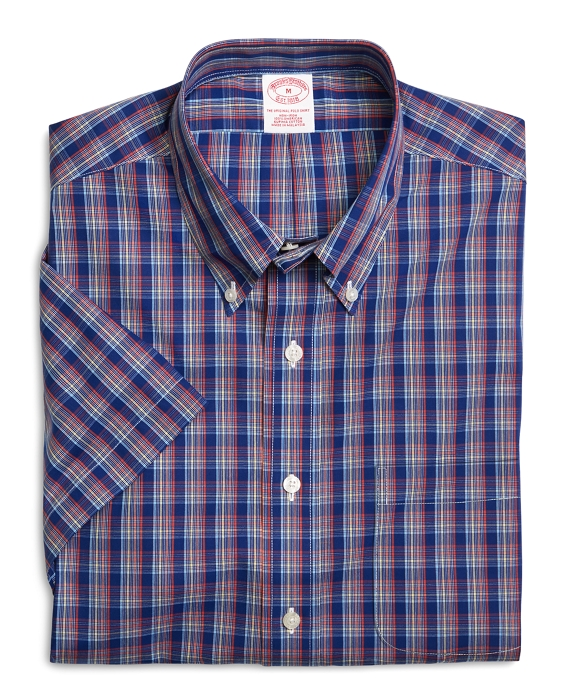 Supima® Cotton Non-Iron Regular Fit Multi Grid Check Short-Sleeve Sport Shirt Blue Multi