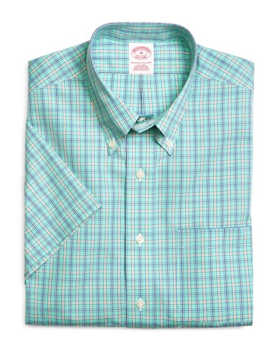 Supima® Cotton Non-Iron Regular Fit Framed Check Short-Sleeve Sport Shirt Aqua