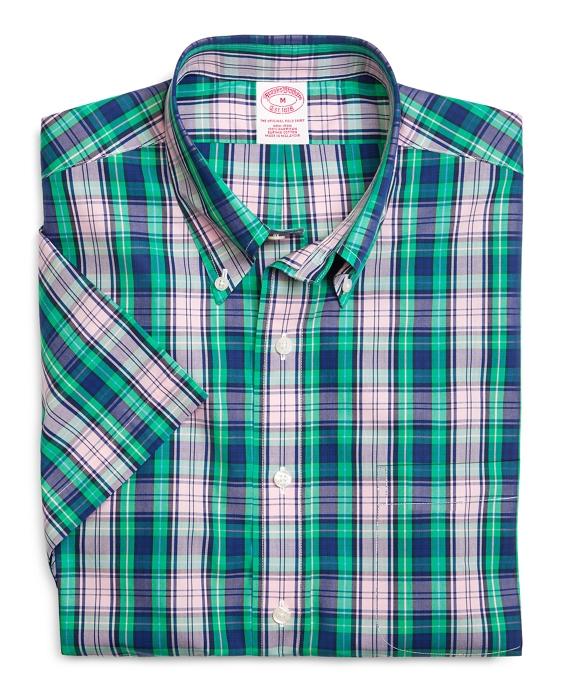Supima cotton non iron regular fit large plaid short sleeve for Brooks brothers custom shirt