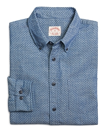 Chambray Dot Print Sport Shirt