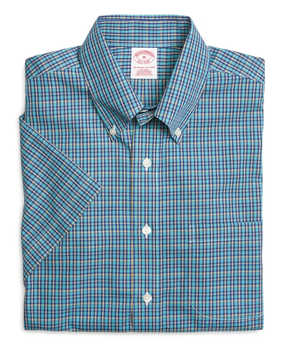 Supima® Cotton Non-Iron Regular Fit Aqua Mini Check Short-Sleeve Sport Shirt Aqua