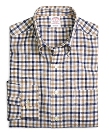 Regular Fit Blue and Tan Tattersall Linen Sport Shirt